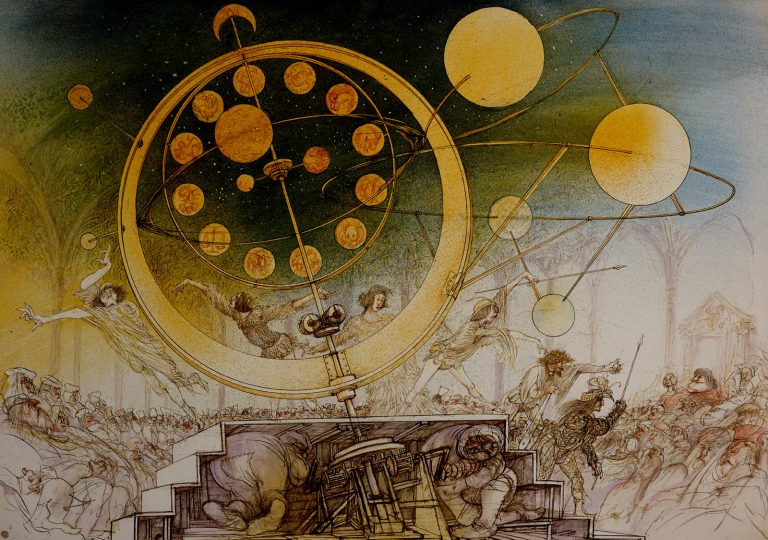 Artwork by Ralph Steadman showing an incredible astrological machine built by Leonardo da Vinci for a wealthy patron.