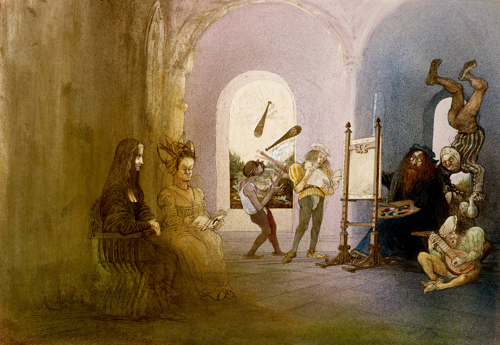 Ralph Steadman imagines here that Leonardo da Vinci paints the Mona Lisa.