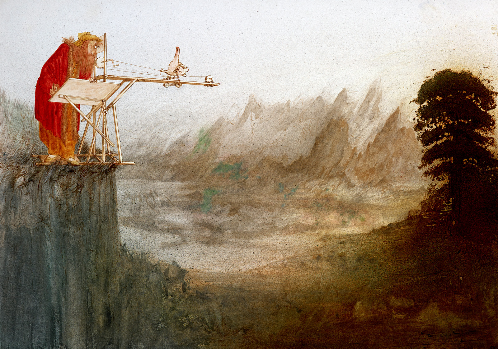 An imagined incident where Leonardo da Vinci has created a device to help him paint a landscape