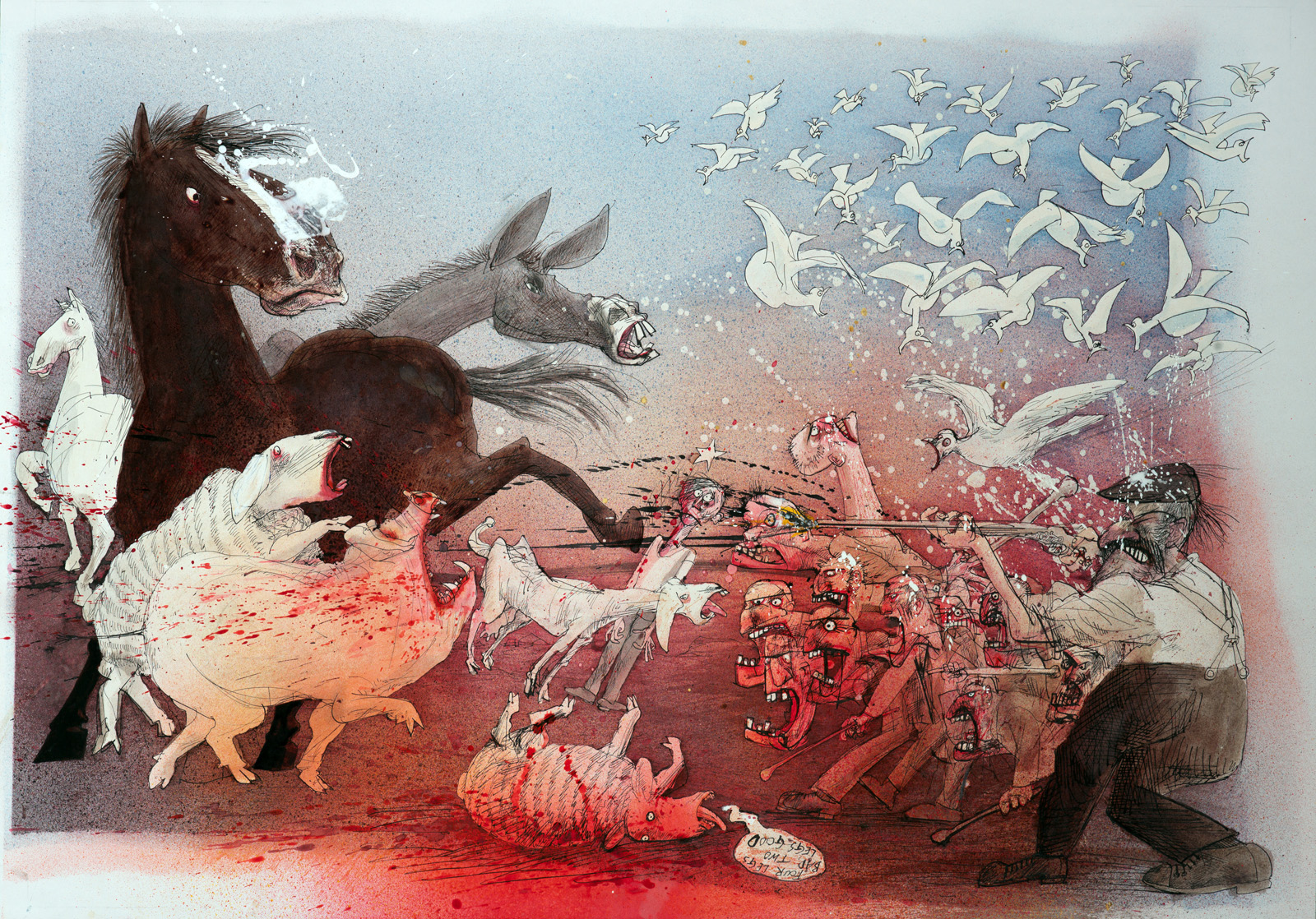 Illustration from Ralph Steadman's iversion of George Orwell's Animal Farm
