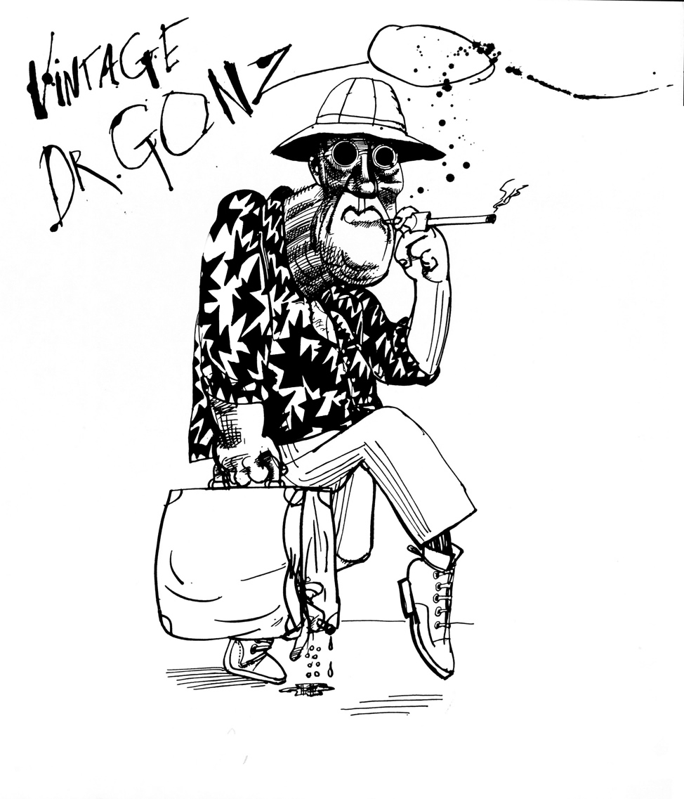 Illustration by Ralph Steadman from Fear and loathing in Las Vegas, the novel by Hunter S Thompson.