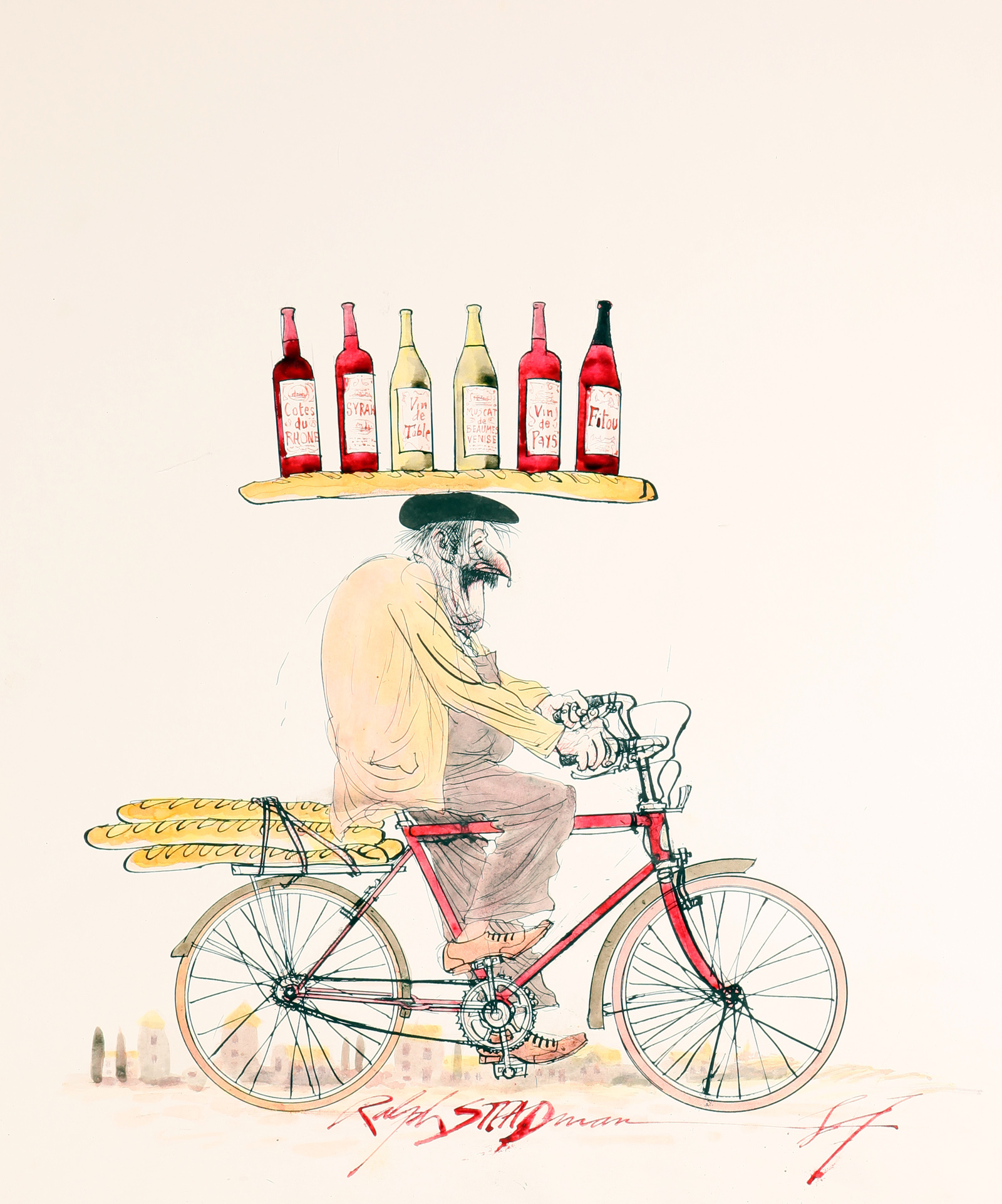 Cover artwork for The Grapes of Ralph, a frenchman on a bike, by Ralph Steadman for Oddbins the wine merchants.