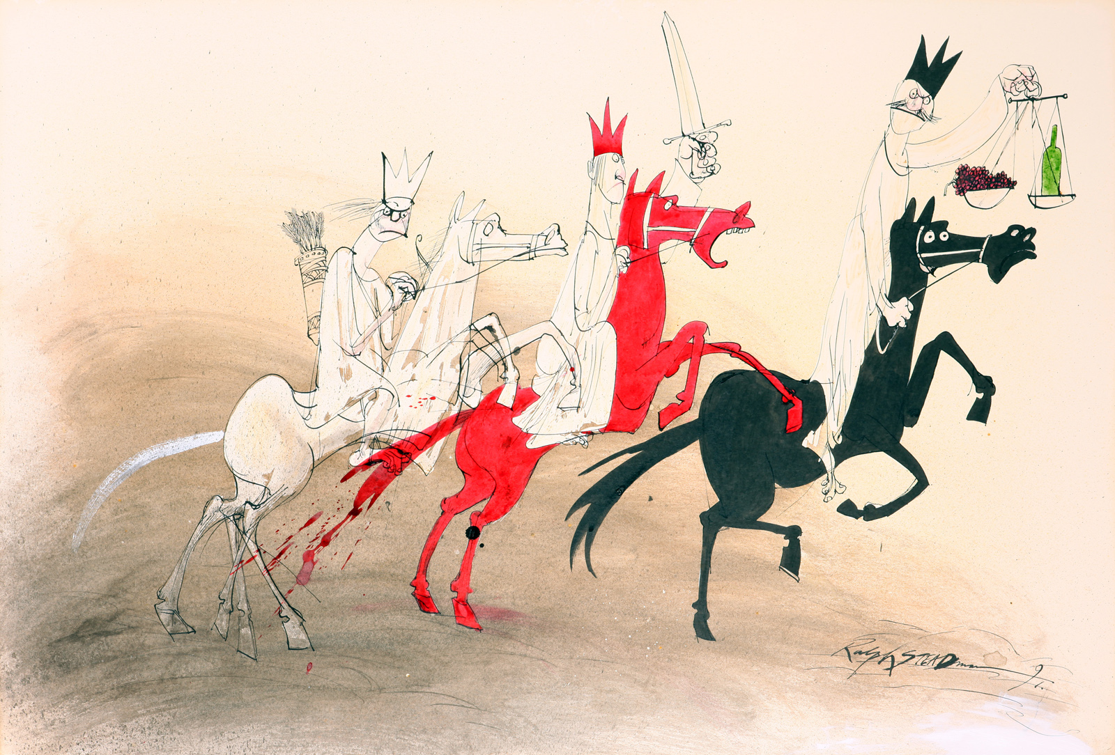 Image of teh 4 Horsemen of the Apocalyse by Ralph Steadman for Oddbins the wine merchants