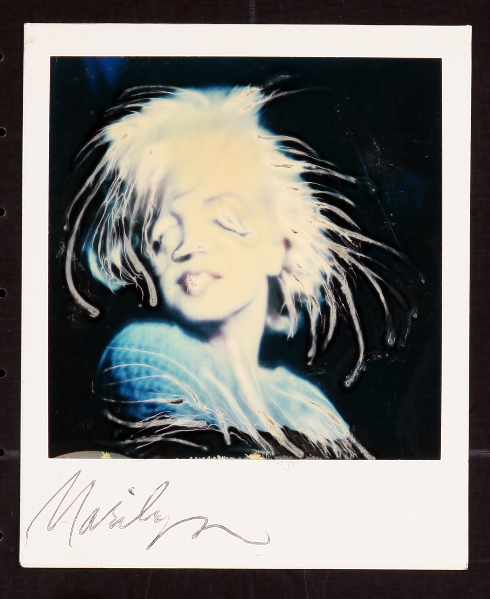 A portrait of Hollywood icon, Marilyn Monroe, using the photographic technique, Paranoids using a polaroid photo by Ralph Steadman