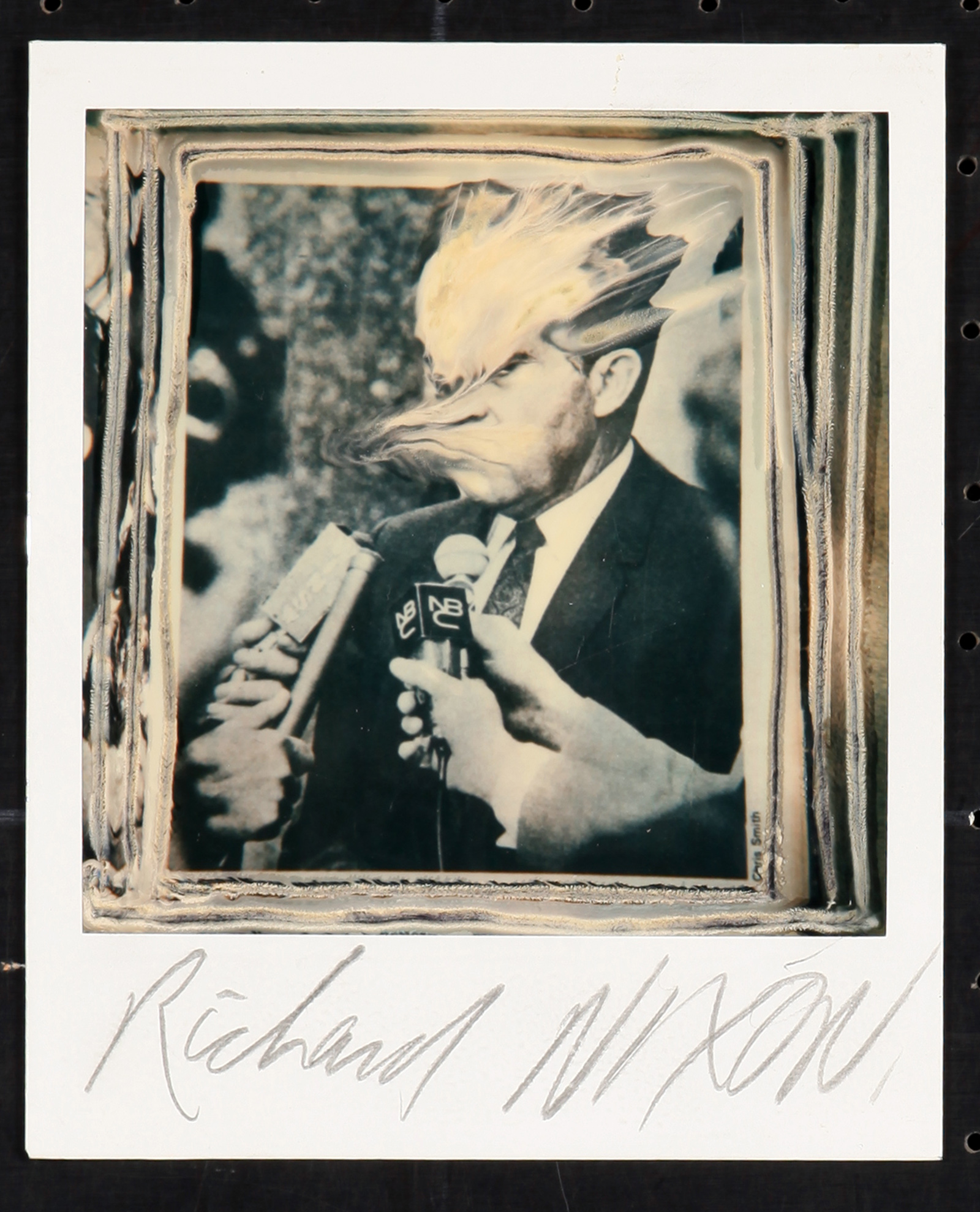 A portrait of Richard Nixon using the photographic technique, Paranoids using a polaroid photo by Ralph Steadman