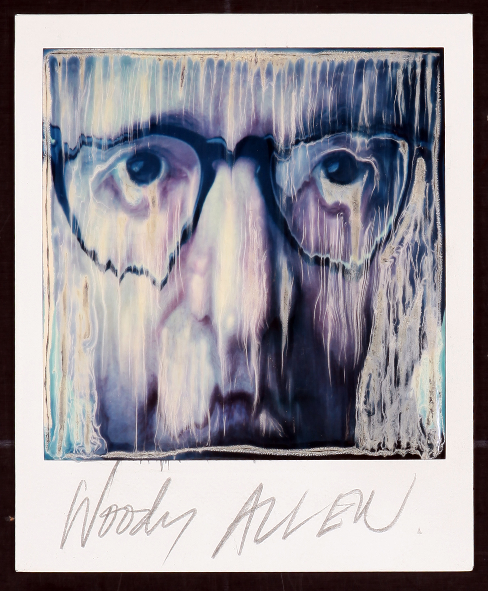 A portrait of Woody Allen using the photographic technique, Paranoids using a polaroid photo by Ralph Steadman