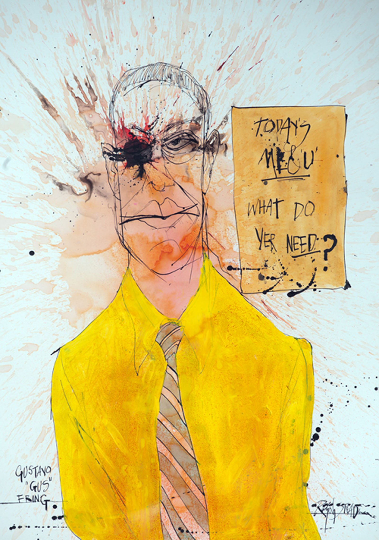 A portrait of the character, Gus from the TV show, Breaking Bad by Ralph Steadman