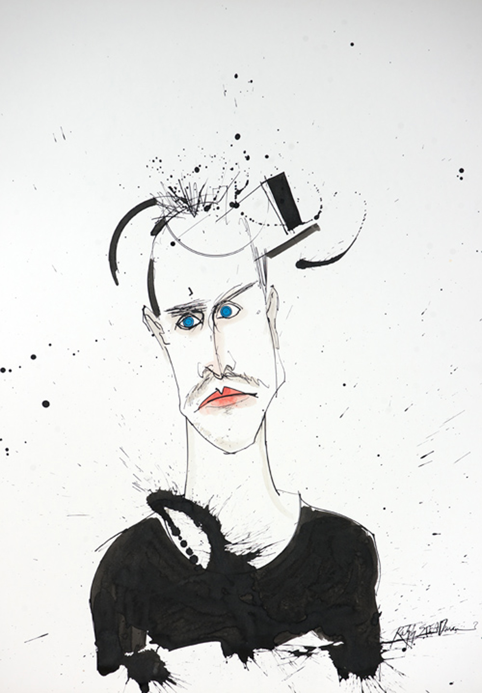 A portrait of the character, Jesse Pinkeman from the TV show, Breaking Bad by Ralph Steadman
