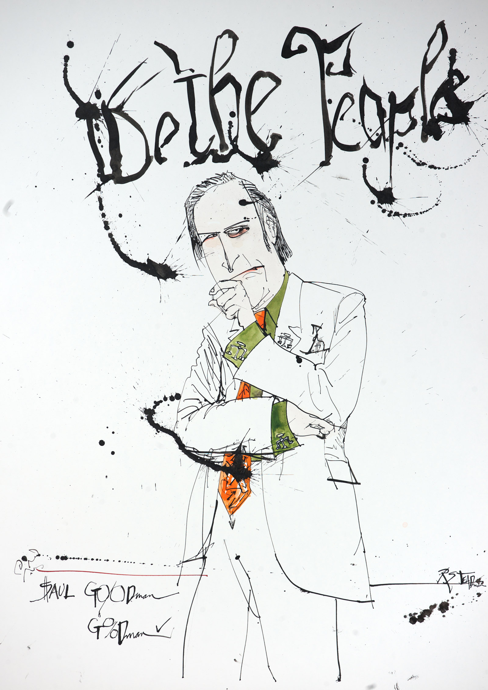 A portrait of the character, Saul Goodman from the TV show, Breaking Bad by Ralph Steadman