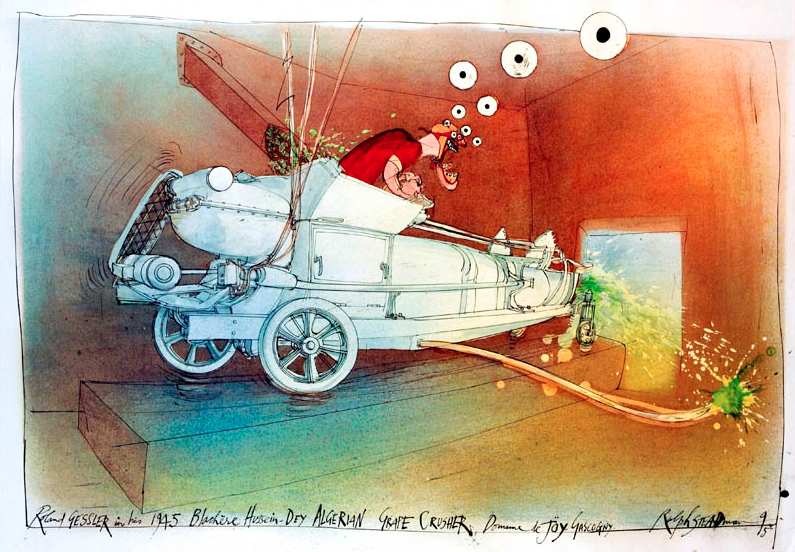 A portrait of Roland Gessler in his 1945 Hussein-Dey Grape Crusher from the Oddbins drawings by Ralph Steadman