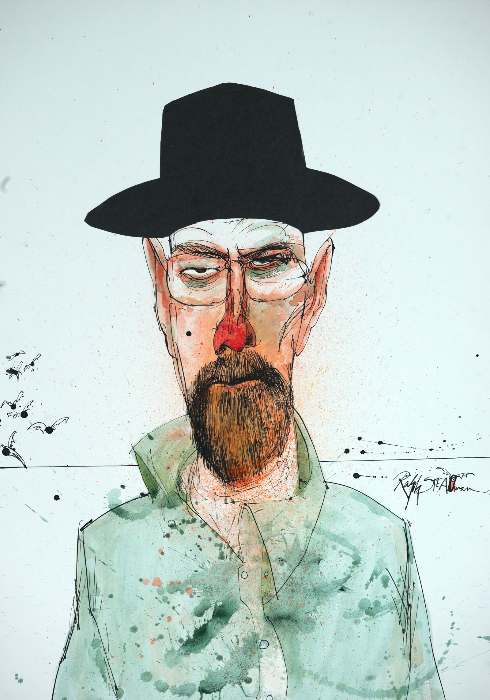 A portrait of the character, Walter White from the TV show, Breaking Bad by Ralph Steadman