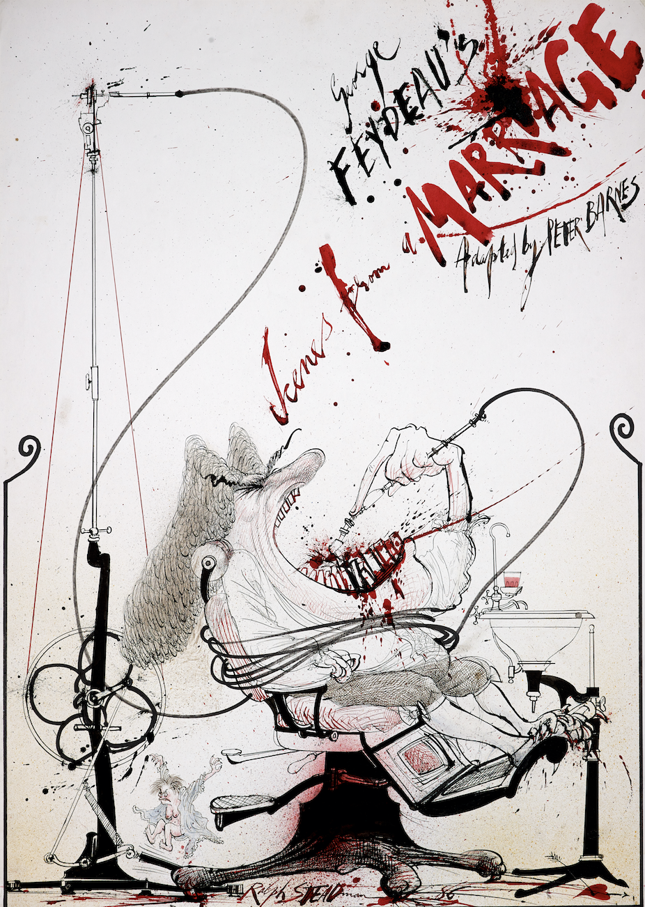 Scenes From a Marriage theatre poster artwork by Ralph Steadman