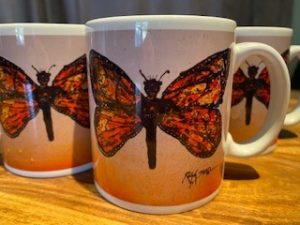 Mugs featuring Ralph Steadman's Monarch Butterfly from the Critical Critters Collection